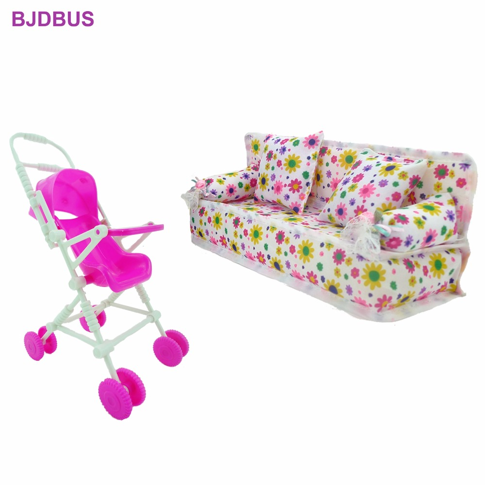 2 Items / Lot = 1x Plastic Baby Stroller Play House + 1x Cloth Sofa Furniture DIY Accessories For Barbie Sister Kelly Doll