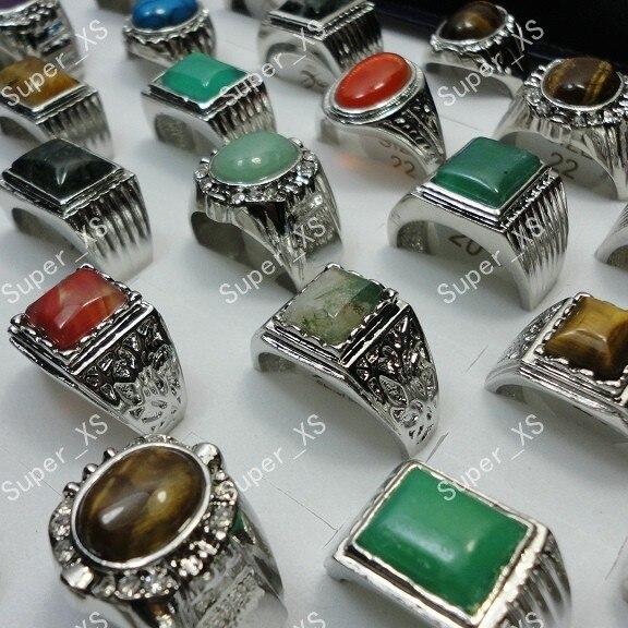 8 stücke Ganze Natur Stein Silber Überzogene Ringe Für Männer Mode Schmuck Masse Verlost LR248 jewelry degree jewelry bottlestone body jewelry - AliExpress