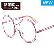 2016The new round metal double coil flat glasses Popular logo myopia frames student female spectacle frames