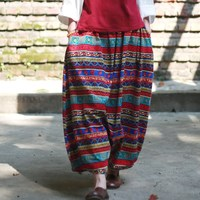 Bohemian Style Print Loose Casual Women Baggy Pants Elastic Waist Novelty Plus Size Pants Skirt Vintage