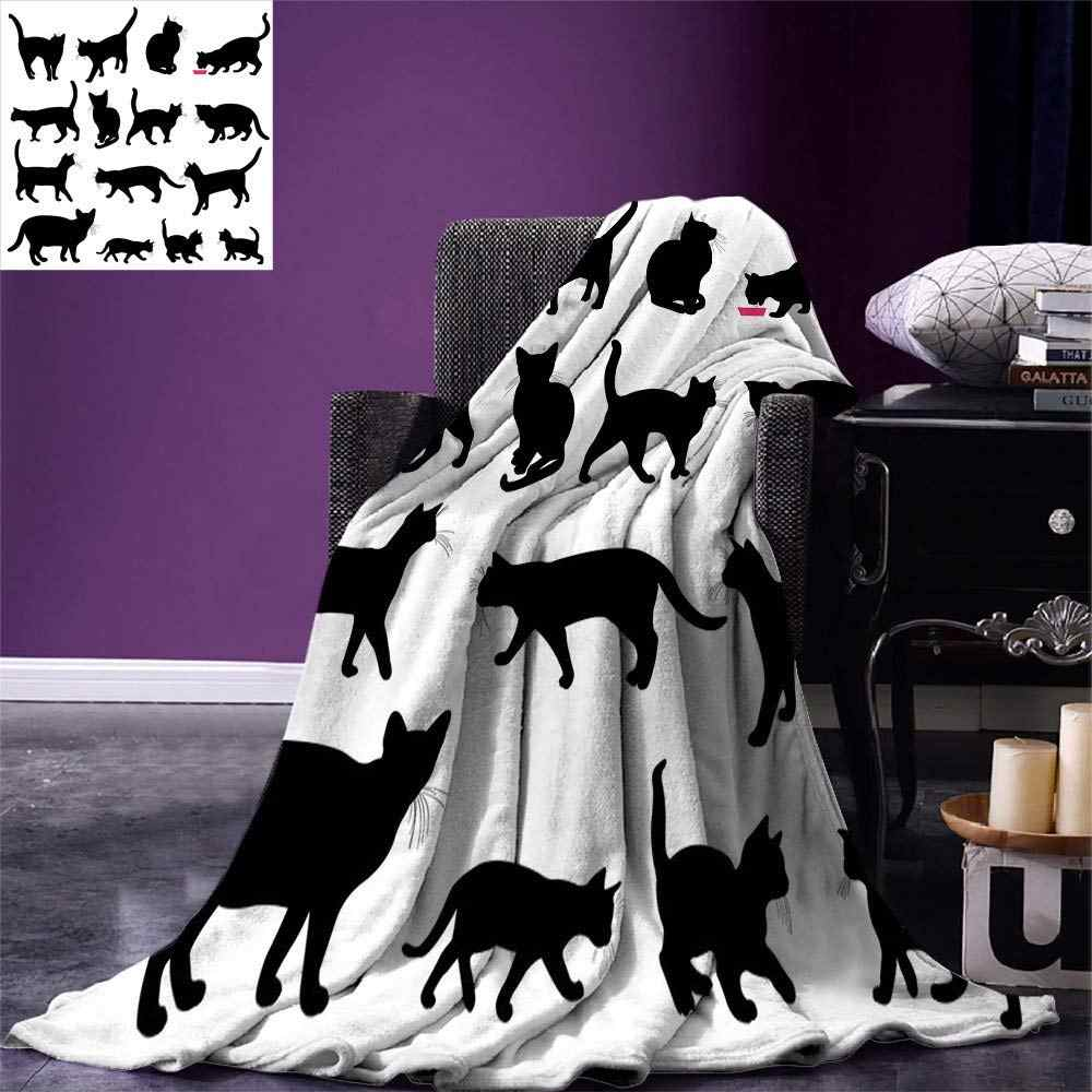 Cat Throw Blanket Black Cat Silhouettes in Different Poses Domestic Pets Kitty Paws Tail and Whiskers Warm Microfiber