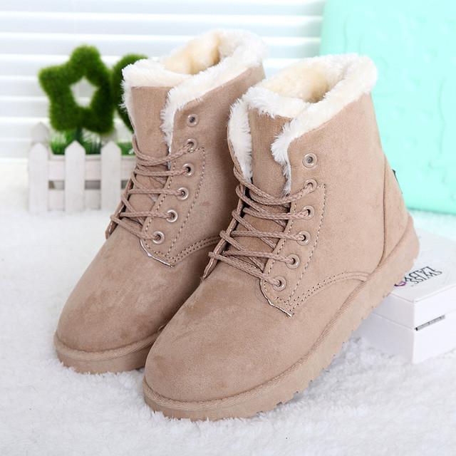 Mujeres calientes Botas de Nieve de Invierno Cálido Botas de Mujer Botas de Encaje Hasta Botines de Piel de Invierno de Las Señoras Zapatos Negro NM01