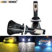 2 adet LED stroboskop sis farları H8 H11 H1 H3 H7 HB4 9005 HB3 9006 880 881 H4 araba far sis lambası lamba ampulü Flash COB uyarı ışıkları