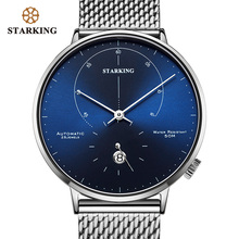 STARKING Automatic Watch Relogio Masculino Self wind 28800 Beats Mechanical Movement Wristwatch Men Steel Male Clock 5ATM AM0269