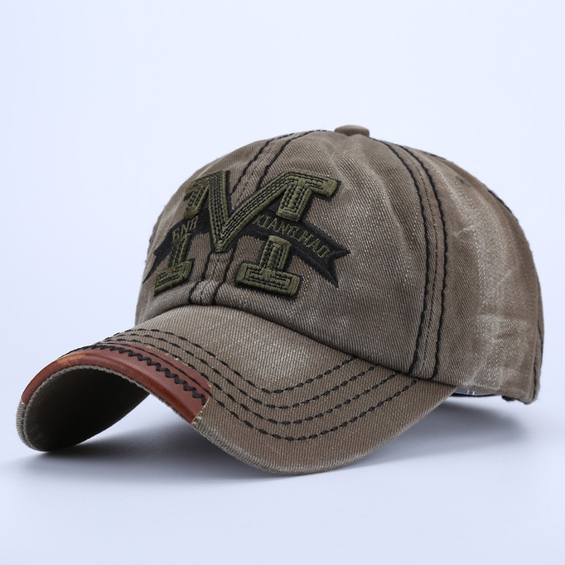 """Embroidered Letter """"M"""" Dad Hat - Army Green Cap Front Angle View"""