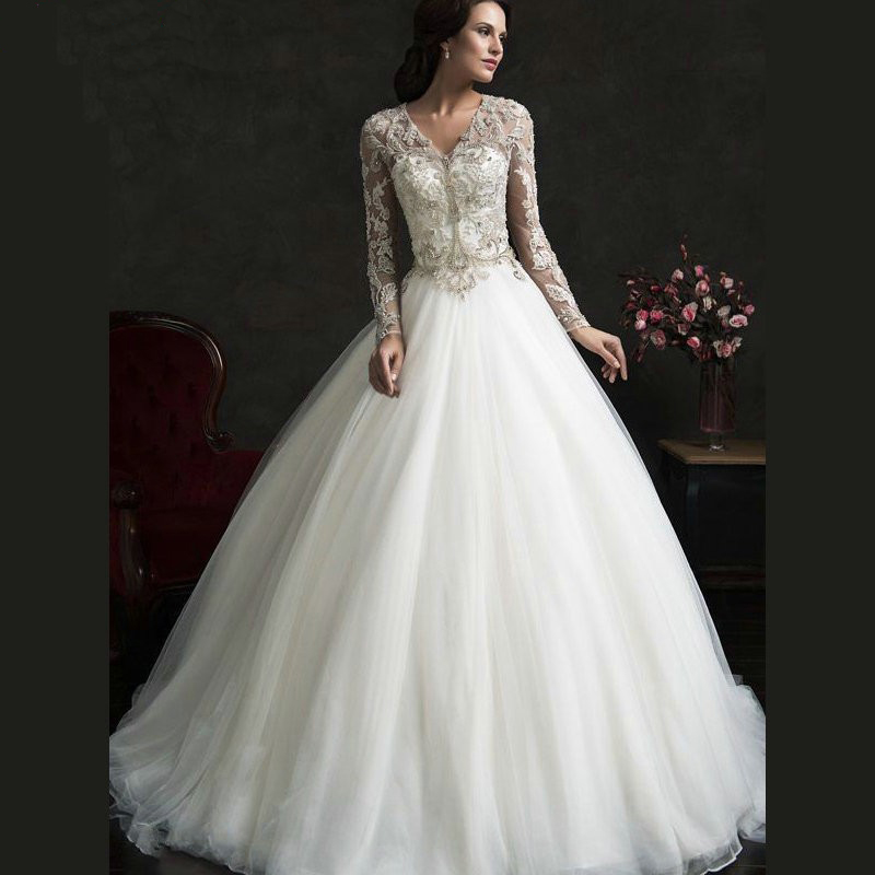 Robe De Mariage 2017 Vintage Noble Tulle A Line Wedding