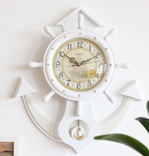 Anchor Shape Solid Wood Wall Clock