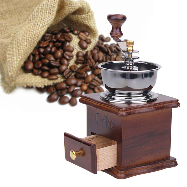 1pcs Retro Manual Coffee Bean Grinder Wood Design Mill Maker Grinders Stand Bowl Antique Hand