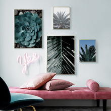 Green Palm Leaves Succulent Plants Wall Art Canvas Painting Nordic Posters And Prints Plant Wall Pictures For Living Room Decor одеяло альвитек овечья шерсть традиция 200 220 см