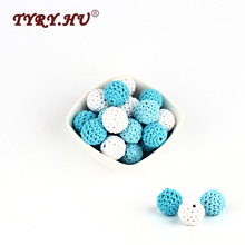 TYRY.HU 30Pcs Round Wooden Beads Tooth Nursing Crochet Beads Baby Teething Teether Toys For Baby Nipple Feeding Necklace Making
