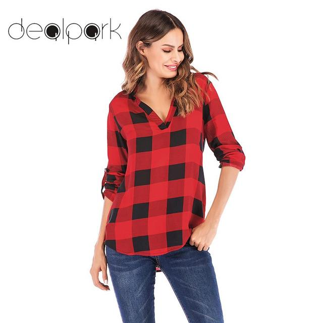 d4e1352c6d0 Plaid Shirts Women Tunics Large Sizes Plaid Blouse female Office Work Wear  Long Tops Plus Size 3XL 5XL Long Sleeve Tunic femme