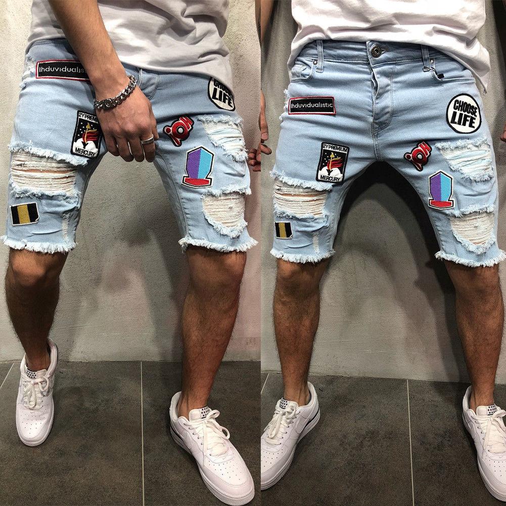 Summer Fashion Mens Ripped   Jeans   Skinny Shorts   Jeans   Destroyed Frayed Denim Cartoon Attach Biker Short   Jeans   Knee Length Trouser