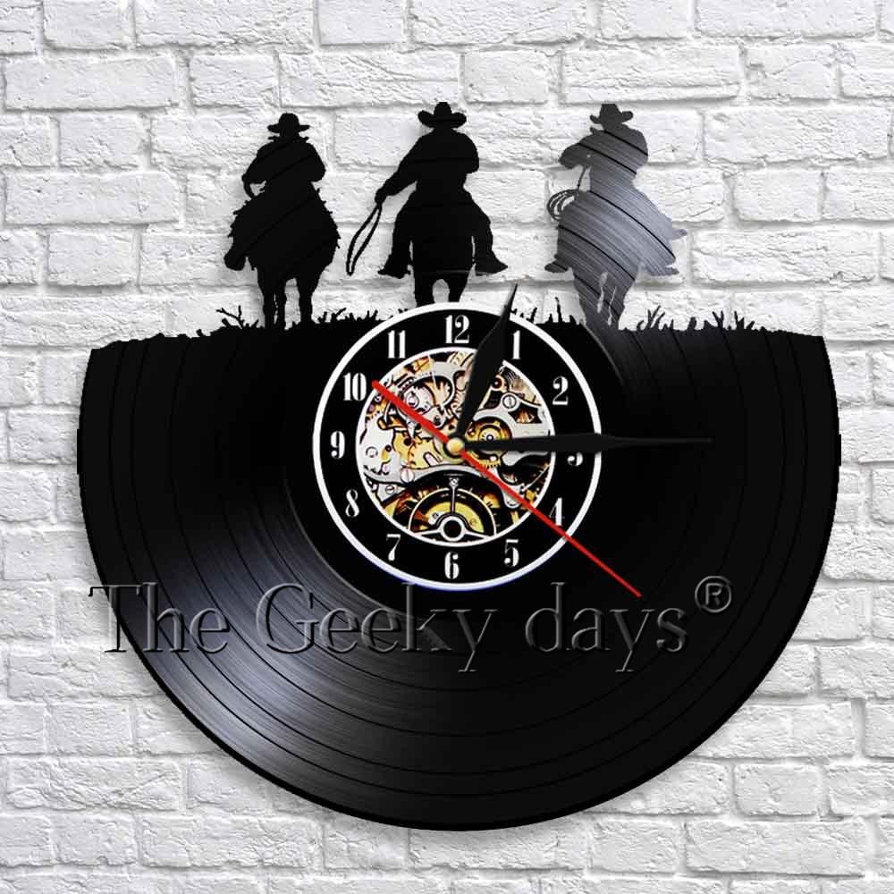 Horseshoe Horse 3D Wall Clock Western Cowboy Sign LED Vinyl Record Wall Clock Cowboy Laser Cut Handicraft Artwork Clocks