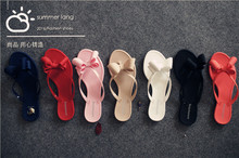2016 Summer New Pinch Bow Slippers And Sandals Female Solid Jelly Shoes Wholesale  Ladies