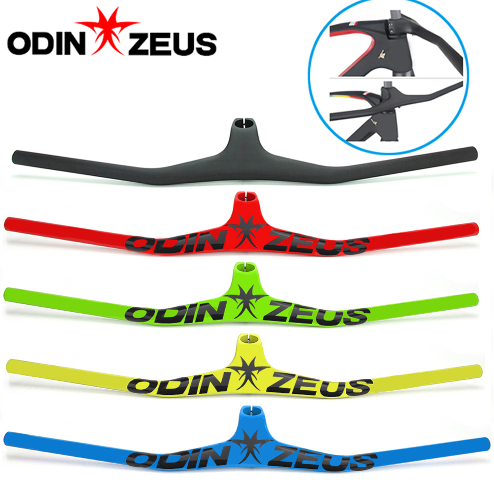 ODINZEUS 2019 Hot seller MTB Bicycle Riser One shaped Integrated Handlebar With Stem 3K Black Glossy