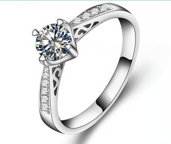 Classic 0.5Ct 4 Prongs Round Cut Diamond Sterling Silver 925 Ring Never Fade Best Christmas Valentine Gift Fine Jewelry