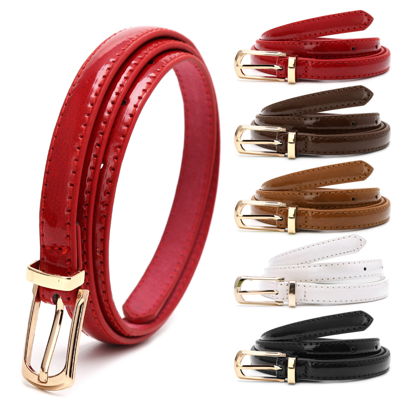 Candy Color Metal Buckle Thin Casual Belt For Women , Leather Belt Female Straps Waistband For Apparel Accessories(China)