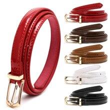 Couleur bonbon boucle en métal mince ceinture décontractée pour les femmes,  ceinture en cuir femmes sangles ceinture pour access. 0e8bc37bb0b