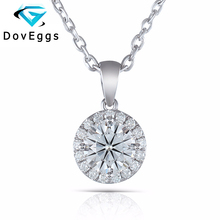 Halo Moissanite Pendant 10K White Gold 1.17 CTW Center 6.5mm H Color Brilliant Necklace with Complimentary Chian for women