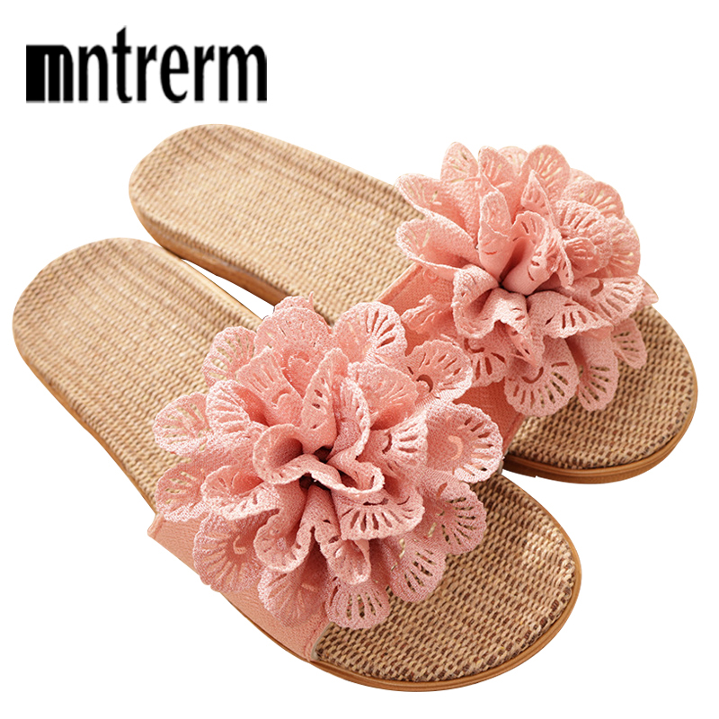 Mntrerm 2019 New Summer Linen Slipper Female Indoor Floor Non-slip Sandals Flower Home Shoes Breathable Home Slippers For WomenMntrerm 2019 New Summer Linen Slipper Female Indoor Floor Non-slip Sandals Flower Home Shoes Breathable Home Slippers For Women