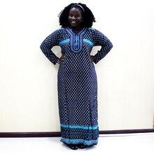 2019 модное платье в африканском стиле с принтом Дашики, хлопковое повседневное длинное платье с аппликацией для женщин