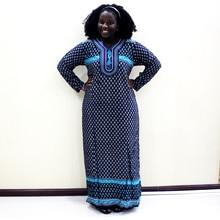 Vestido de Moda Africana Dashiki 2019, vestido largo informal de algodón con estampado de apliques para mujer