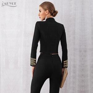 Image 5 - Adyce 2020 New Women Bandage Runway Jackets And Coats Elegant Button Black Long Sleeve Zipper Jacket Celebrity Lady Outwear Coat
