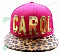 Fashion Hat New Men's  CAROL letter Adjustable Rock Baseball Cap Snapback Hats Stud Rivet crystal acrylic letter cap