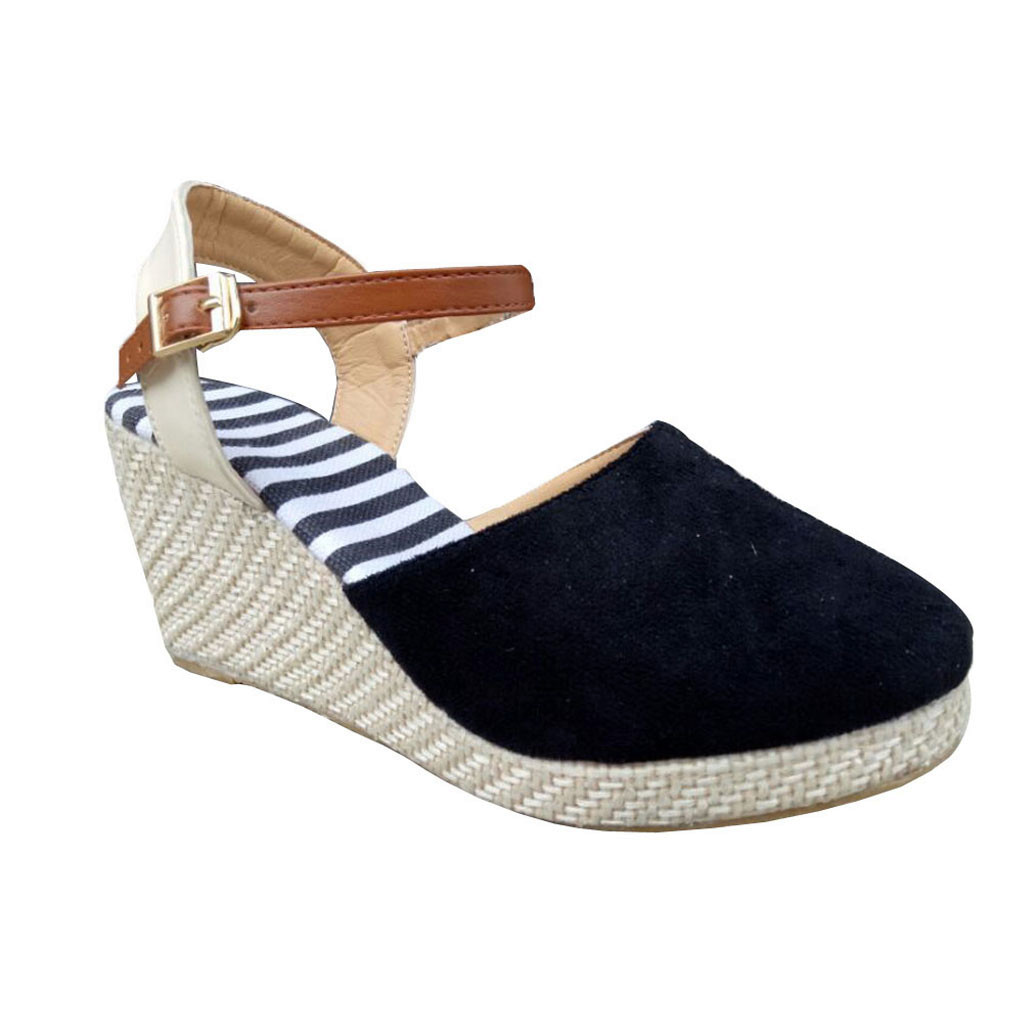 Wedges Sandals Ankle-Strap Mid-Heel Beach-Shoes Femmes Casual Women for Summer Ethnic
