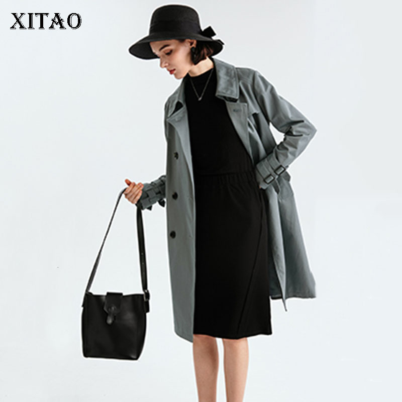 [XITAO] Double Breasted Fashion New Women 2019 Spring A-line Loose Coat Female Long Solid Color Casual A-line   Trench   DLL2680