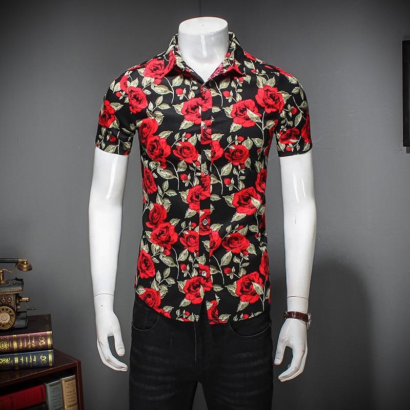 Quality Men Flower Shirt Summer Slim Fit New Men Casual Shirts ...
