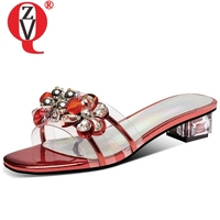 ZVQ String Bead Genuine Cow Leather woman slippers summer Fashion girl gem Muller Beach sexy 3.5 cm med Crystal heel shoes