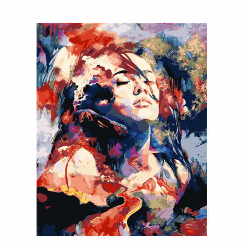 DRAWJOY Framed Picture Beauty Lady DIY Painting By Numbers Colorful Picture Home Decor For Living Room Hand Unique Gifts GX23379