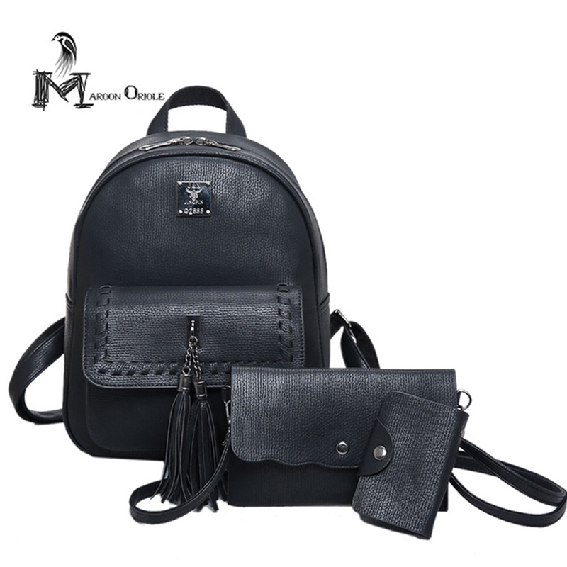 3 in 1 luxury leather backpack mini backpack tassel bag with rivet decoration