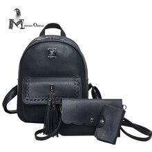 3 в 1 люкс кожа рюкзак мини рюкзак кисточкой сумка с заклепки украшения