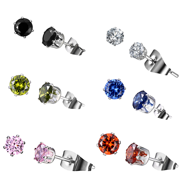 Fashion CZ 6 Prong Tragus Cartilage Stainless Steel Ear Stud Crystal Zircon Earrings Geometric Ear Piercing Jewelry Clear Boucle