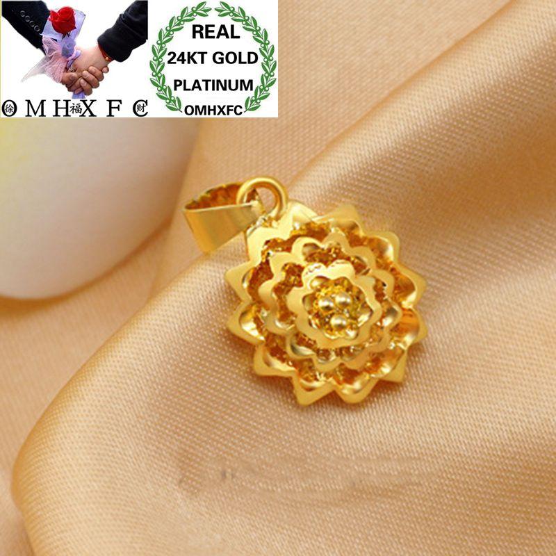 OMHXFC gros mode européenne femme fille fête anniversaire mariage cadeau Vintage fleur 24KT réel or pendentif à breloque PN209