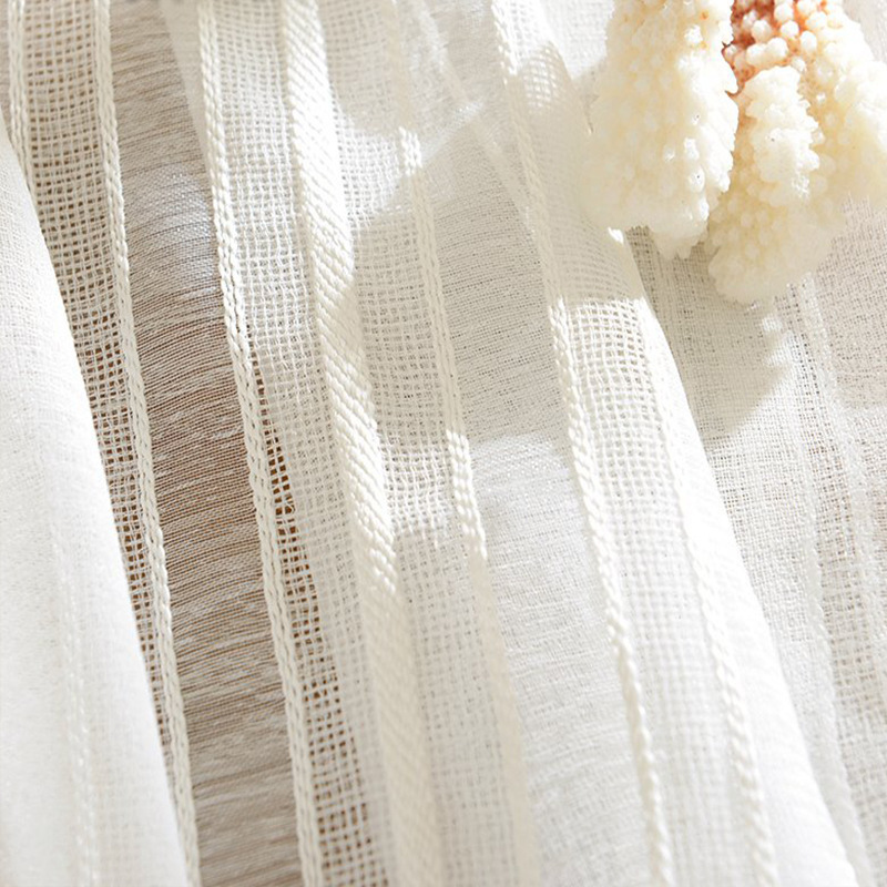 Jacquard Ready-made Curtains For Living Room Kitchen White Tulle Curtains For Bedroom American Style Cotton Linen Window Tende