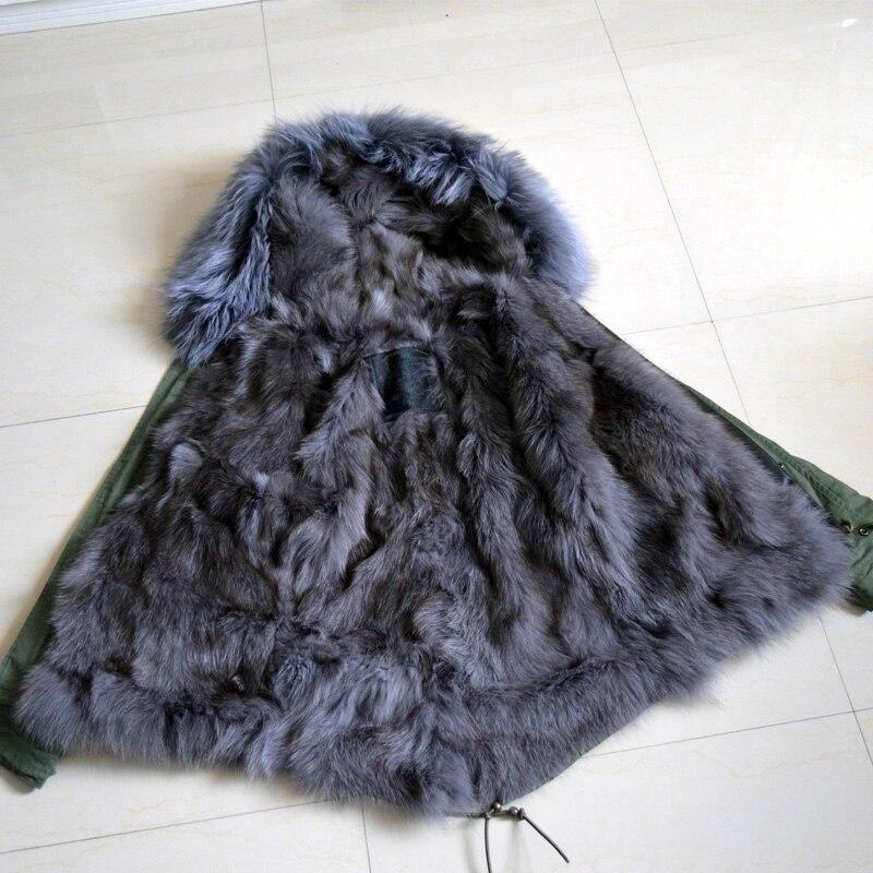 Pure cotton shell Winter outerwear real grey fox fur jacket Mrs Mr short fur parka
