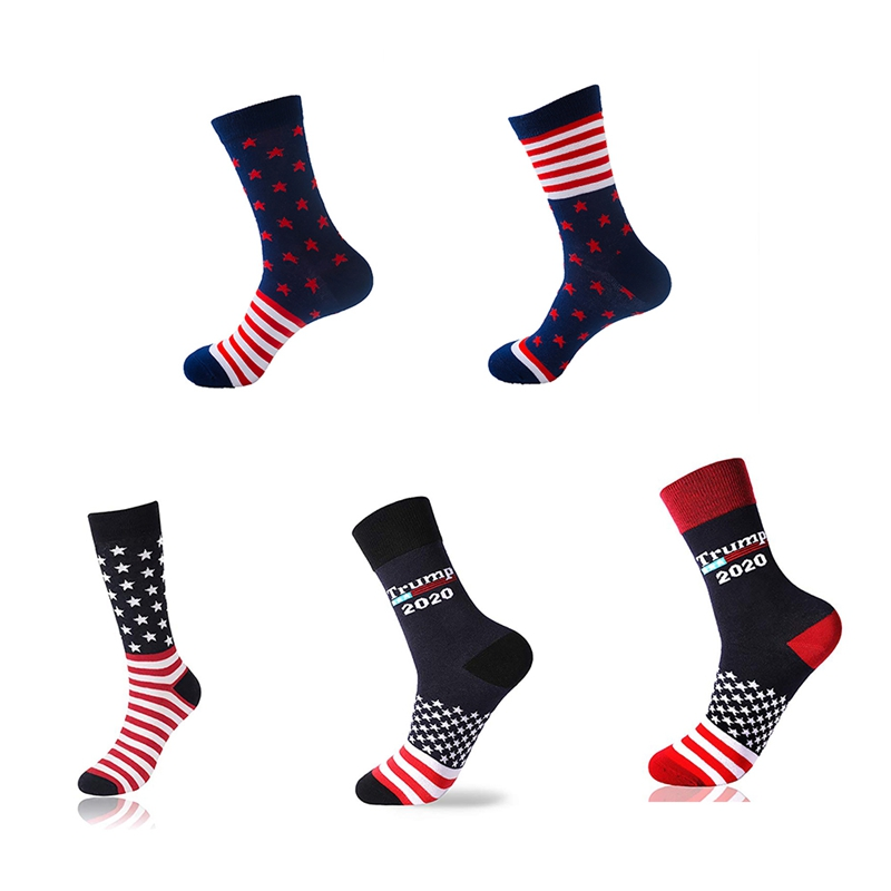 Stitching Color America National Flag Printed Socks 2020 Soft Comfort Men Cotton Trump Sock Novelty Personality Chaussette Homme