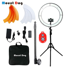 MountDog Selfie LED Ring Light 18Inch With Tripod And Phone Holder Video Photo Studio Light Ring Lamp USB Plug Remote Control yongnuo yn608 led studio selfie ring light 3200 5500k wireless remote video light cri 95 photo lamp with carry bag annular lamp