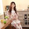Pijamas de Las Mujeres del Otoño Invierno de la Moda Femenina Ropa de Dormir de Algodón puro Impresa Flor de Manga Larga Pijama Establece Plus 4XL Tamaño