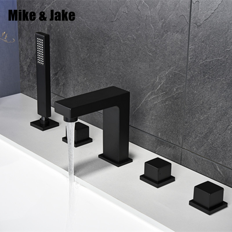 Bathroom black bath faucet square black bathtub mixer tap black shower room faucet set black faucet