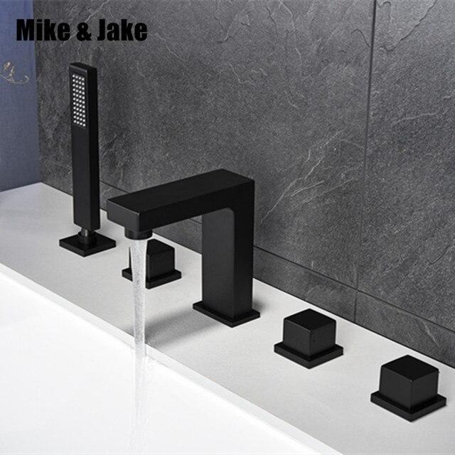 욕실 블랙 목욕 수도꼭지 광장 블랙 욕조 믹서 탭 블랙 샤워 룸 수도꼭지 세트 블랙 수도꼭지 탭 샤워를 당겨
