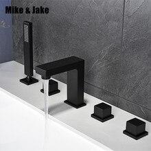 Bagno nero vasca da bagno rubinetto quadrato nero vasca da bagno miscelatore rubinetto nero rubinetto della doccia set rubinetto nero rubinetto pull out doccia