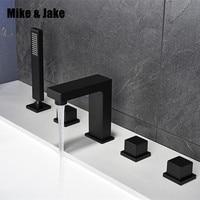 Bathroom black bath faucet square black bathtub mixer tap black shower room faucet set black faucet tap pull out shower