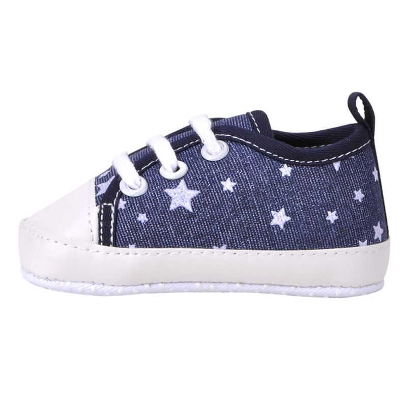 0-18M Boys Girls Baby Canvas Lace Up Crib Shoes Soft Soled Sneakers Prewalker
