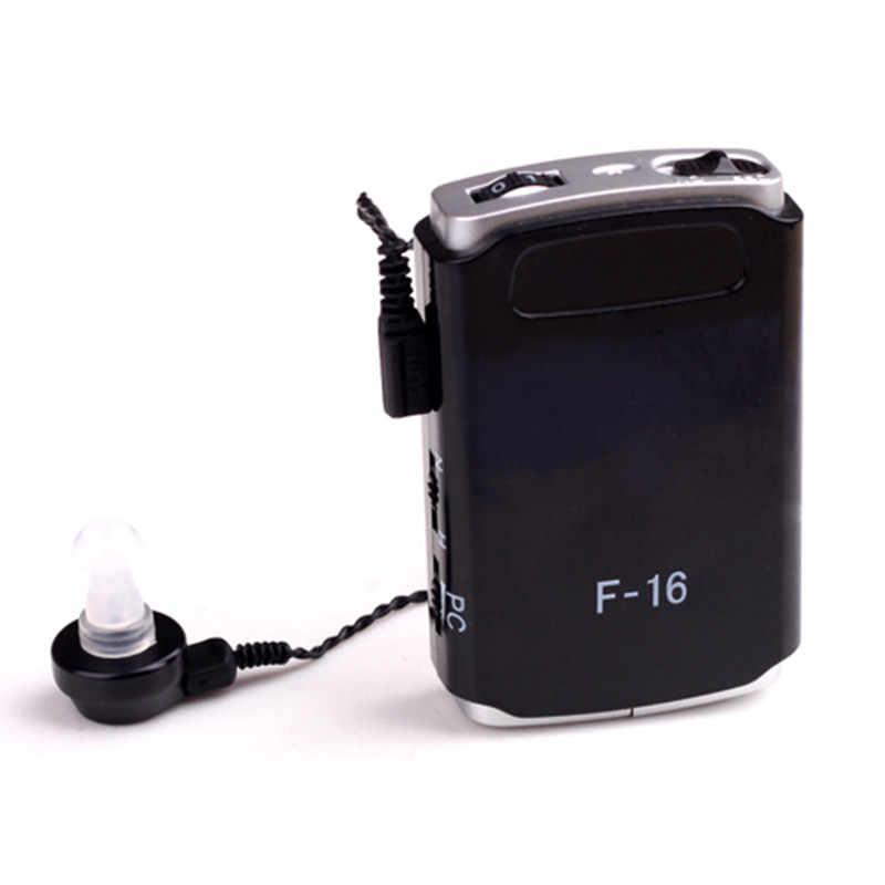 F-16 altavoz de mejor persona negro portátil para el oído ayuda para la audición de voz Material respetuoso con el medio ambiente audífono de bajo ruido