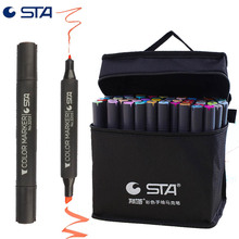 Дешевые STA 3203 Professional Твин Маркеры Artist Pen тонкой и долото перо, хамелеон раскраски ручки рисования маркером рисования 30 Цвета