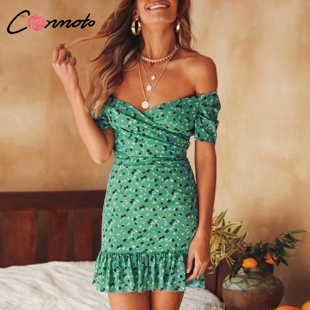 Conmoto Sexy Off Shoulder Women Dress Ruffles Bodycon Summer Dresses Beach 2019 Vintage Female Casual Dress Vestidos